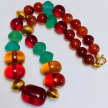 Phyllis Woods Carnelian,Resin, Antique Glass Necklace