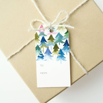 Holiday Gift Tags - Watercolor Ombre Trees (Set of 6)