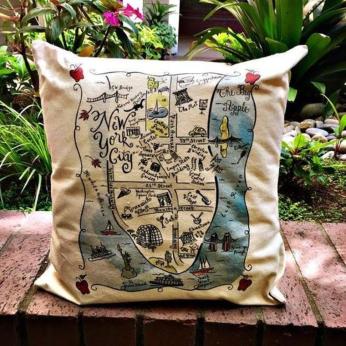 Illustrated Map Design Decorative Pillow - East Coast