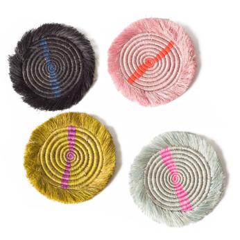 Fringed Multicolor Neon Coasters
