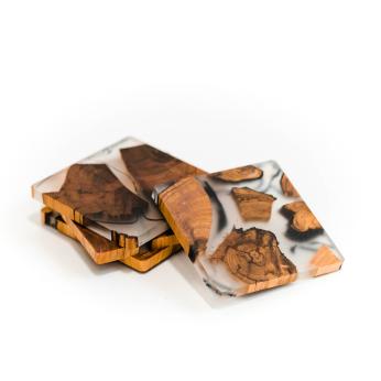 Cedar Resin Coaster Set