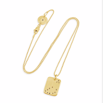 Capricorn LOVE YOU TAG 14k Yellow Gold with Champagne Diamonds