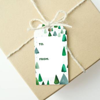 Holiday Gift Tags - Trees & Polka Dots (Set of 6)