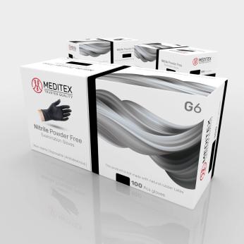 Meditex G6 - Powder Free Medical Nitrile Gloves (Black)