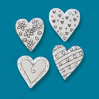 4 Hearts Magnet Set