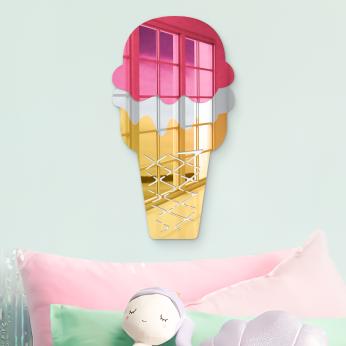 Wafer Cake Cone Ice Cream Wall Decor | Mirror Acrylic Finish | Ready to Hang