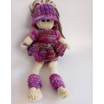 Toothpick doll in natural wool