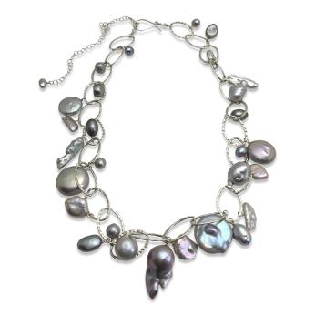 Platinum Grey Pearl Lux Organic Necklace