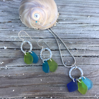 Seaglass Earrings (JER-539T) & Necklace (JNC-528G)
