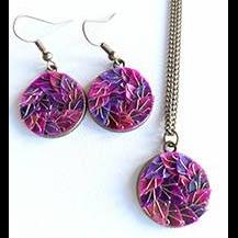 necklace set + earrings Copper - purpleroselilac
