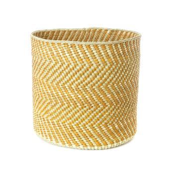 Yellow & Natural Maila Milulu Reed Baskets from Tanzania