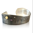 Mixed Metal, Oxidized and Textured Cuff with Mountain and Tree Scape