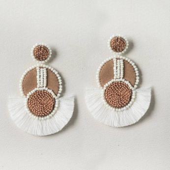 Triple Round Copper Earrings