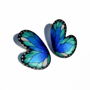 Morpho Half Butterlfy Rounded Earrings