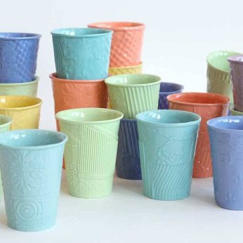 """RECon"" texture porcelain cups - MEDIUM"