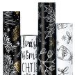 """RUSPEPA BLACK AND WHITE PRINTED WRAPPING PAPER BUNDLE - 30""""W X 10'L / ROLL - 4 ROLL BUNDLE"""