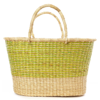 Lime Pinstripe Tailored Tote from Ghana