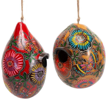 Flowers and Butterflies in Color - Gourd Birdhouse