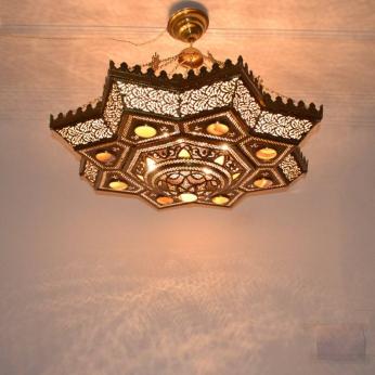 "39.5"" Large Oxidize Gold Brass Chandelier-Moroccan Ceiling Light Fixture-Chandelier Lighting"
