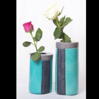 Small Lid Engraved Stripe Flower Vase