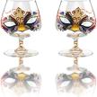 "Victoria Bella 14.5 Oz Brandy Glasses, 5"" High ""Venetian masks"" Snifters. Set of 2"