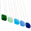 Recycled Bottle Glass Cube Necklace with Sterling Silver Chain | Handmade