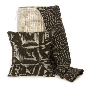 Black Segou Squares Organic Cotton Mudcloth Pillow and Throw Blanket