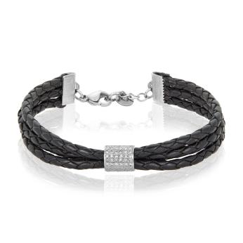 Braid Diamond Leather Bracelet
