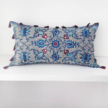 Blue Tassel Cushion Cover
