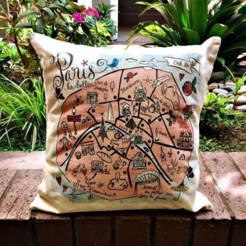Illustrated Map Design Decorative Pillow - International Cities and Countries