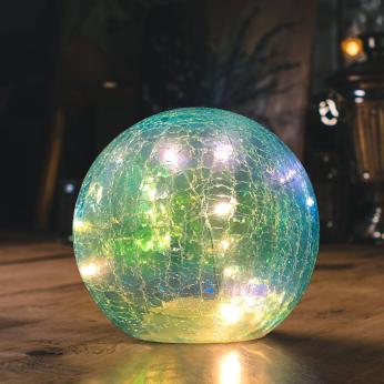 Blue Faerie LED Crackle Glass Globe
