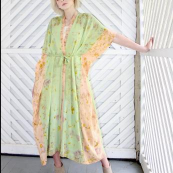 Flower-Dyed Silk Duster, Caftan, Kimono: Fresh Indigo