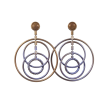 Celestial Spinning Circles Earrings - Antique Brass Pale Peacock
