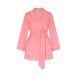Velvet Piped Short Robe with belt   Cloud Pink