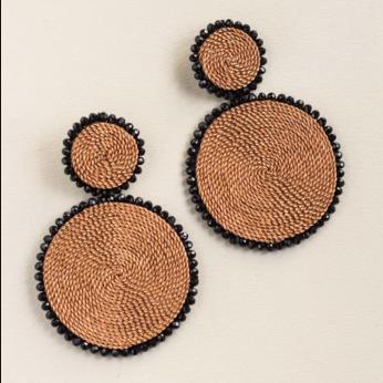 Double Copper Circle Earrings
