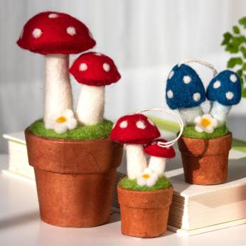 Hand Felted Mushroom Potted Plants & Story Jars