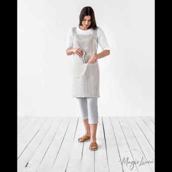 Pinafore cross-back linen apron (Various options)