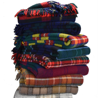 Prince of Scots Highland Tweed New Wool Fluffy Throw (20 Colors)