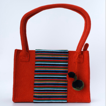 Rust Felt Wool Purse with Hand Woven Textile Decoration (0036RT)