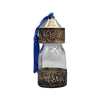 Moroccan Glass Spice Bottle with Silver