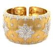 Yellow Gold Wide Diamond Cuffs