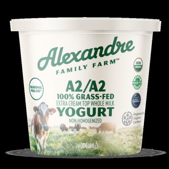 Alexandre Family Farm 100% Grass-fed, A2/A2 Organic Yogurt with Seasonal Milkfat