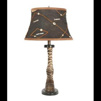 Zebra Lamp with Kuba Cloth Shade