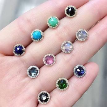 Rosie Colored Stone Post Earrings
