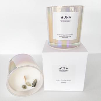 12oz & 8oz AURA Crystal & Reiki Candle: Rose Water & Hibiscus