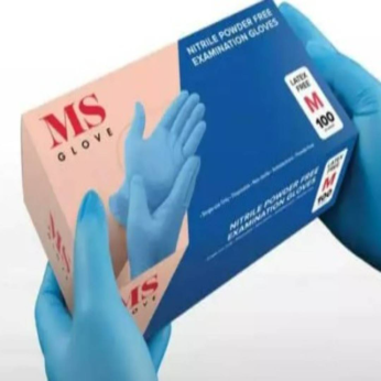 MS Gloves -Nitrile Examination Gloves ASTM Standard (Medical)  Powder Free  Single Use  Ambidextrous  Non- Sterile  Fingertip Textured