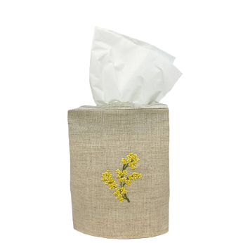 Mimosa Flower Linen Tissue  Box Cover Natural