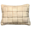 Koff Medium Woven Leather Accent Pillow  – Bone