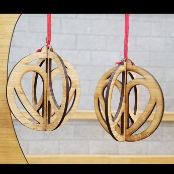 Peace & Love Bamboo Christmas Ornament