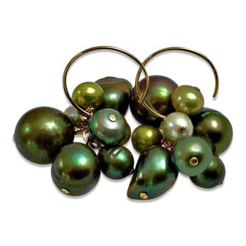 Green Pearl Cluster Earrings